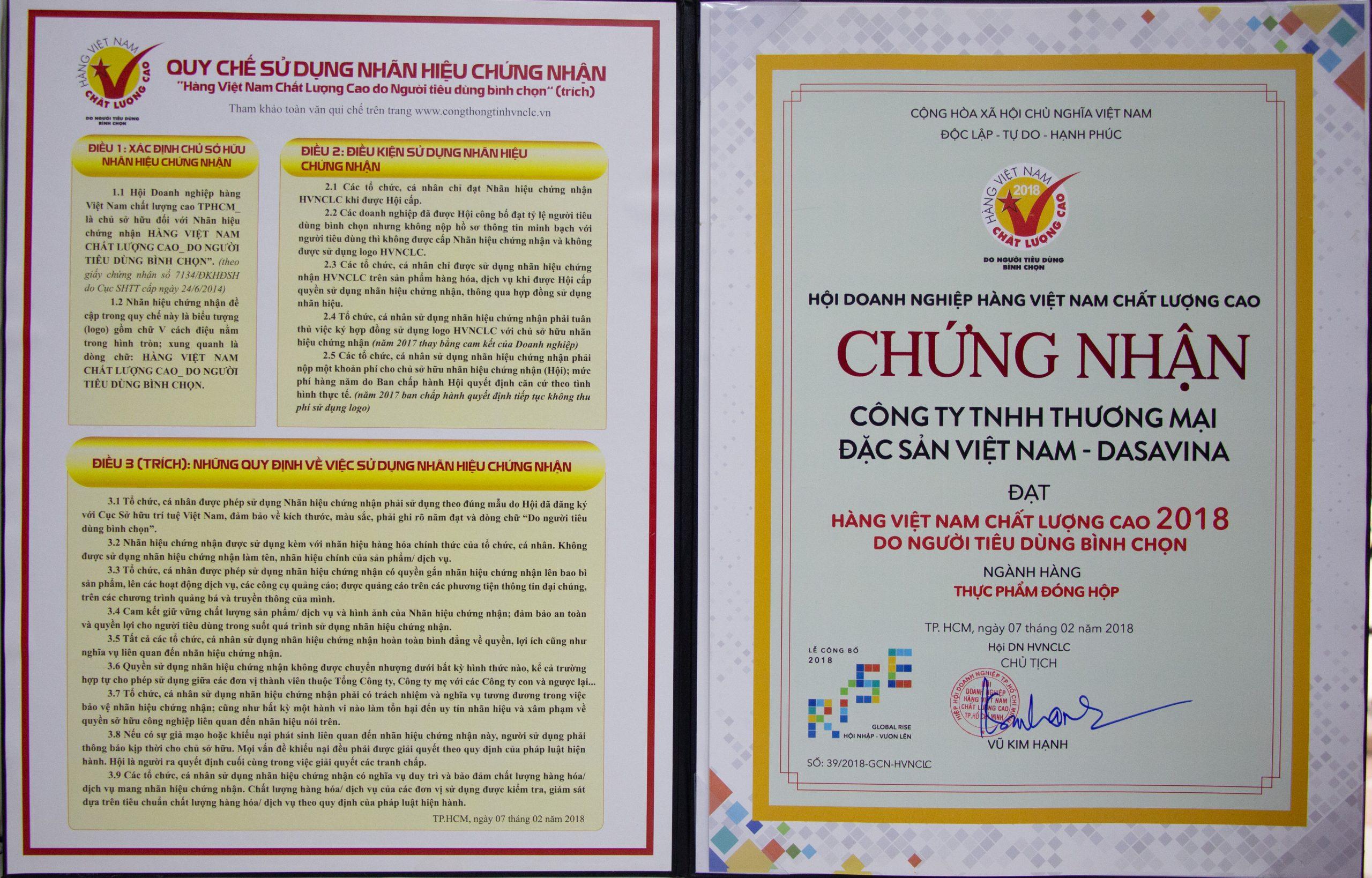Chứng nhận Hàng Việt Nam Chất lượng cao năm 2018