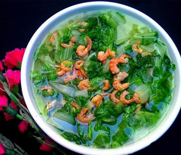 Món canh cải nấu tôm khô ngọt thơm