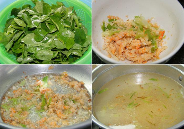 Sơ chế nguyên liệu cho món canh rau ngót nấu tôm khô
