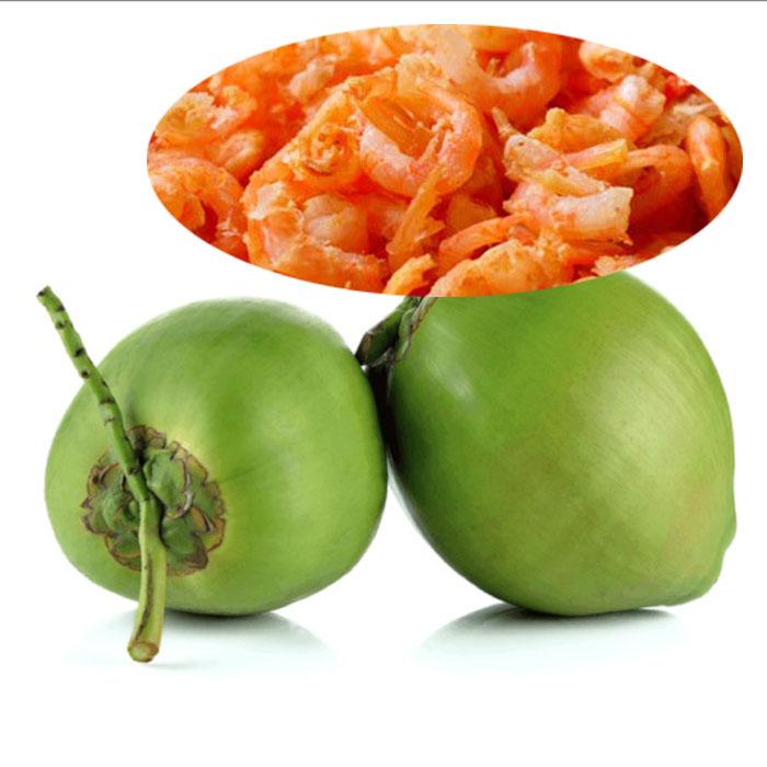 Nguyên liệu cho món tôm khô rim nước dừa